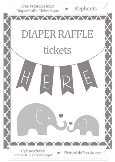 Free Taupe Grey Moroccan Tile Elephant 8x10 Diaper Raffle Ticket Sign