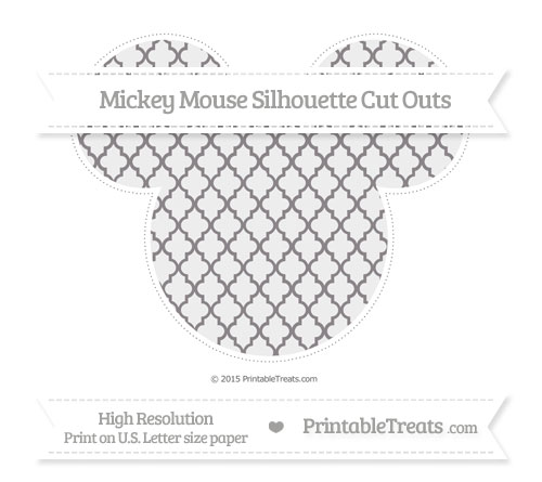 Free Taupe Grey Moroccan Tile Extra Large Mickey Mouse Silhouette Cut Outs