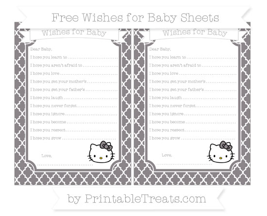 Free Taupe Grey Moroccan Tile Hello Kitty Wishes for Baby Sheets