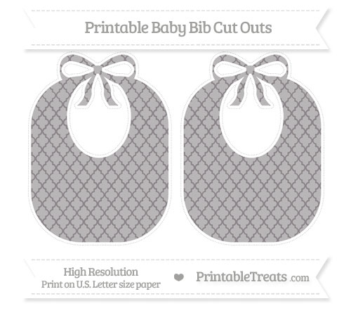Free Taupe Grey Moroccan Tile Large Baby Bib Cut Outs