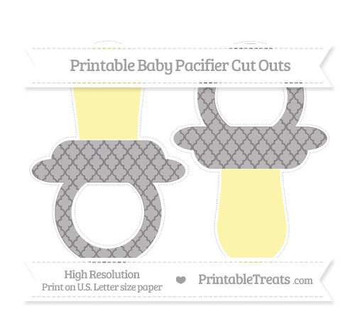 Free Taupe Grey Moroccan Tile Large Baby Pacifier Cut Outs