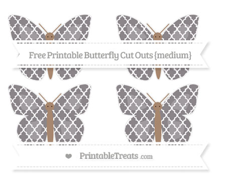 Free Taupe Grey Moroccan Tile Medium Butterfly Cut Outs