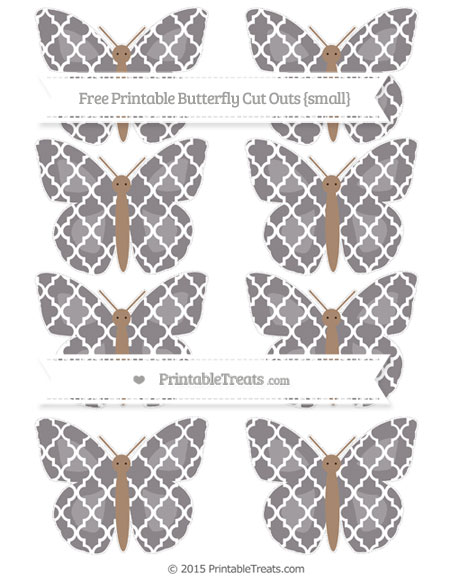 Free Taupe Grey Moroccan Tile Small Butterfly Cut Outs