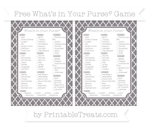Free Taupe Grey Moroccan Tile What's in Your Purse Baby Shower Game