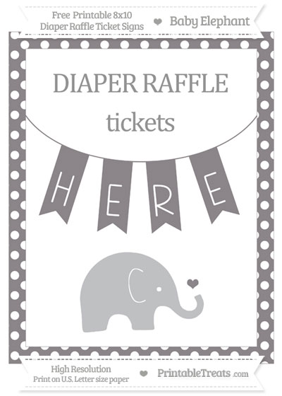 Free Taupe Grey Polka Dot Baby Elephant 8x10 Diaper Raffle Ticket Sign