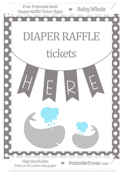 Free Taupe Grey Polka Dot Baby Whale 8x10 Diaper Raffle Ticket Sign