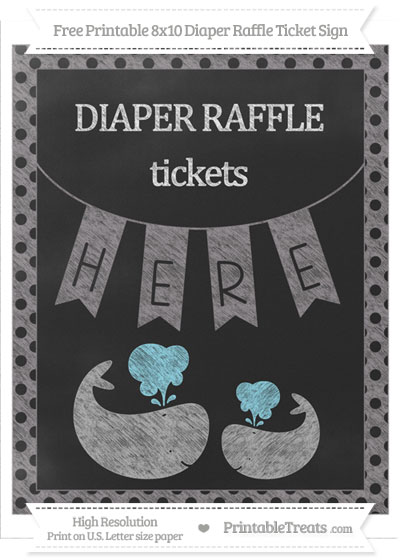 Free Taupe Grey Polka Dot Chalk Style Baby Whale 8x10 Diaper Raffle Ticket Sign