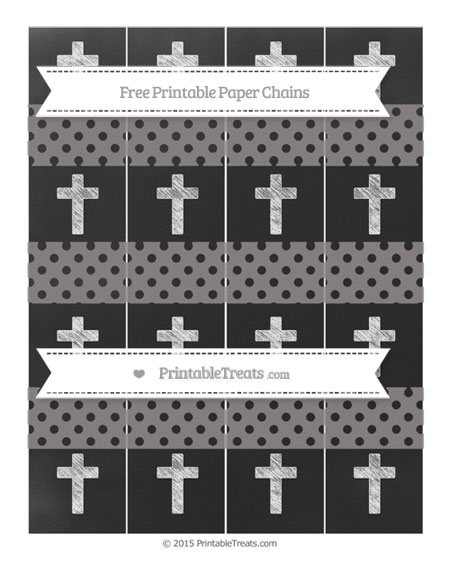 Free Taupe Grey Polka Dot Chalk Style Cross Paper Chains