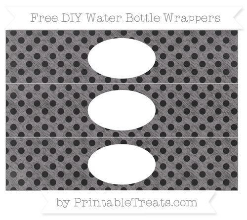 Free Taupe Grey Polka Dot Chalk Style DIY Water Bottle Wrappers