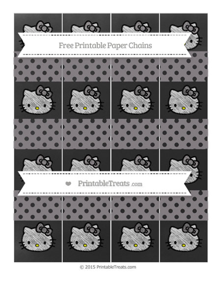 Free Taupe Grey Polka Dot Chalk Style Hello Kitty Paper Chains