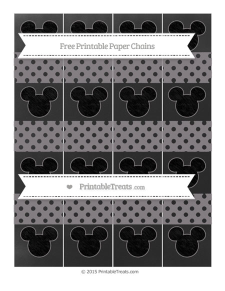 Free Taupe Grey Polka Dot Chalk Style Mickey Mouse Paper Chains