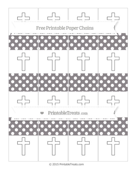 Free Taupe Grey Polka Dot Cross Paper Chains