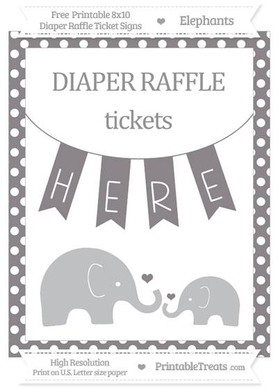 Free Taupe Grey Polka Dot Elephant 8x10 Diaper Raffle Ticket Sign
