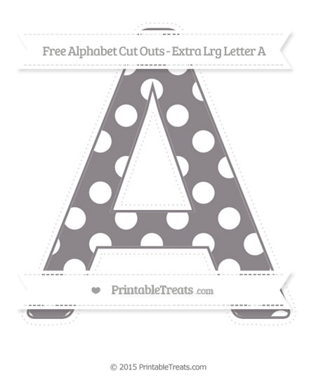 Free Taupe Grey Polka Dot Extra Large Capital Letter A Cut Outs