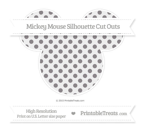 Free Taupe Grey Polka Dot Extra Large Mickey Mouse Silhouette Cut Outs
