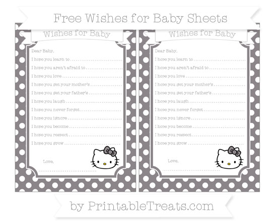 Free Taupe Grey Polka Dot Hello Kitty Wishes for Baby Sheets