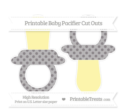 Free Taupe Grey Polka Dot Large Baby Pacifier Cut Outs