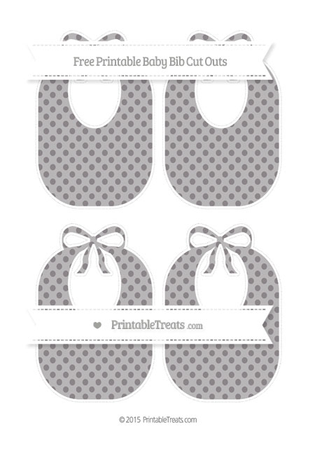 Free Taupe Grey Polka Dot Medium Baby Bib Cut Outs
