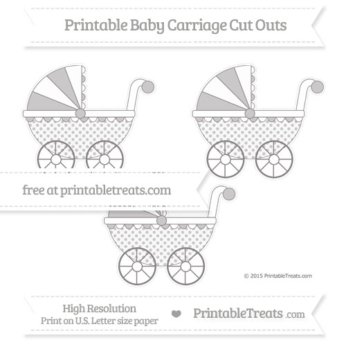 Free Taupe Grey Polka Dot Medium Baby Carriage Cut Outs