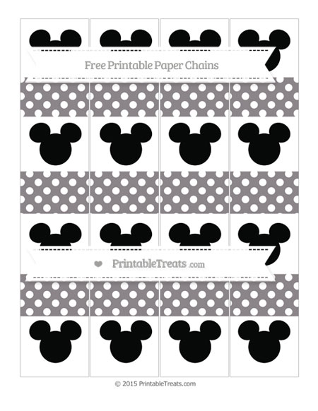 Free Taupe Grey Polka Dot Mickey Mouse Paper Chains
