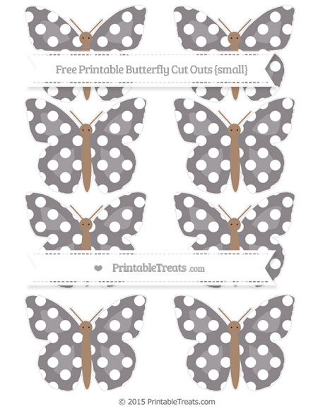 Free Taupe Grey Polka Dot Small Butterfly Cut Outs