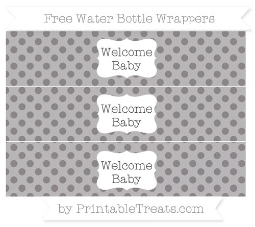 Free Taupe Grey Polka Dot Welcome Baby Water Bottle Wrappers