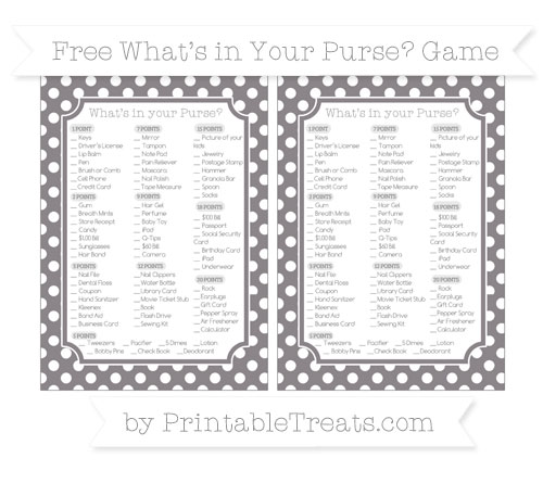 Free Taupe Grey Polka Dot What's in Your Purse Baby Shower Game