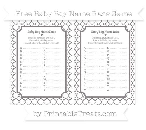 Free Taupe Grey Quatrefoil Pattern Baby Boy Name Race Game