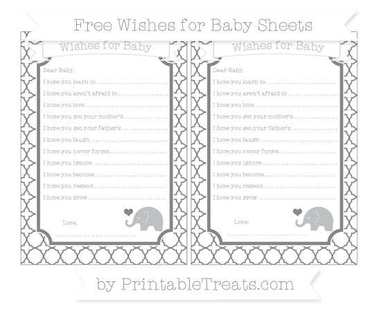 Free Taupe Grey Quatrefoil Pattern Baby Elephant Wishes for Baby Sheets