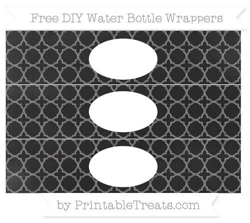 Free Taupe Grey Quatrefoil Pattern Chalk Style DIY Water Bottle Wrappers