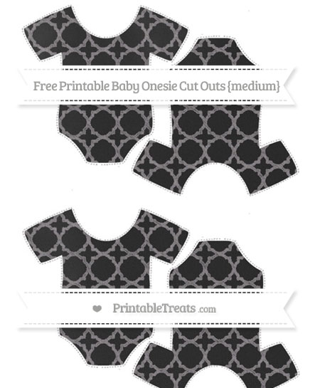 Free Taupe Grey Quatrefoil Pattern Chalk Style Medium Baby Onesie Cut Outs