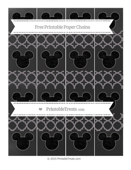 Free Taupe Grey Quatrefoil Pattern Chalk Style Mickey Mouse Paper Chains