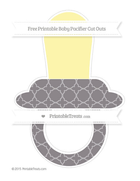 Free Taupe Grey Quatrefoil Pattern Extra Large Baby Pacifier Cut Outs
