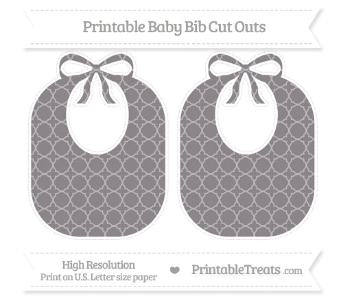 Free Taupe Grey Quatrefoil Pattern Large Baby Bib Cut Outs