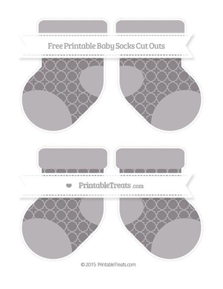 Free Taupe Grey Quatrefoil Pattern Medium Baby Socks Cut Outs