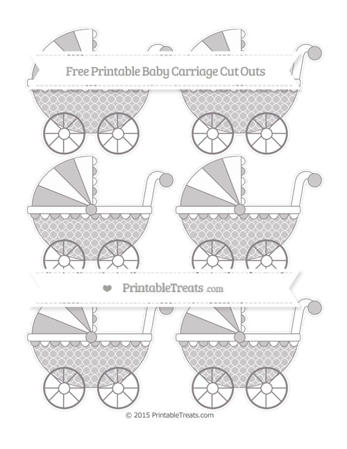 Free Taupe Grey Quatrefoil Pattern Small Baby Carriage Cut Outs