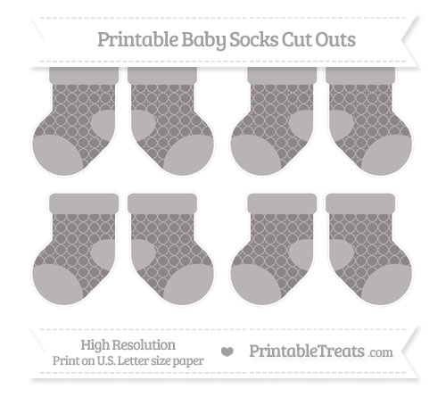Free Taupe Grey Quatrefoil Pattern Small Baby Socks Cut Outs