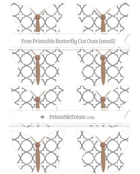 Free Taupe Grey Quatrefoil Pattern Small Smiley Butterfly Cut Outs