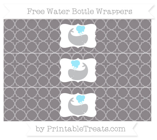 Free Taupe Grey Quatrefoil Pattern Whale Water Bottle Wrappers