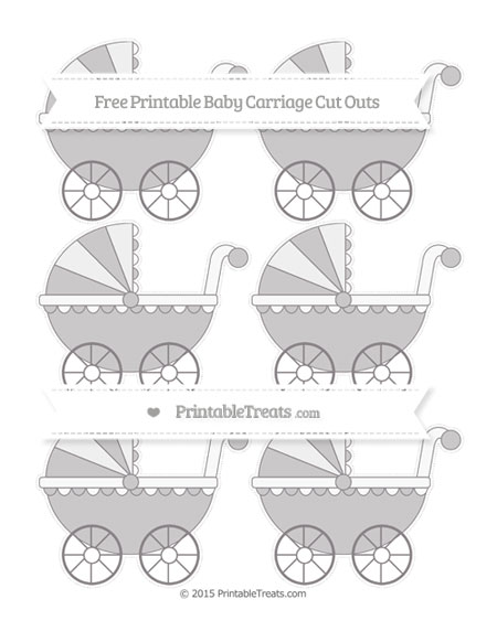 Free Taupe Grey Small Baby Carriage Cut Outs
