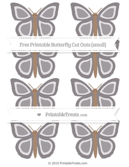 Free Taupe Grey Small Butterfly Cut Outs