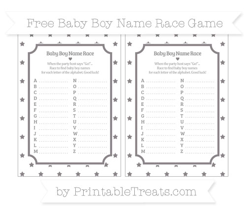 Free Taupe Grey Star Pattern Baby Boy Name Race Game