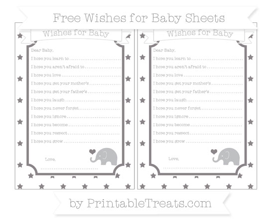 Free Taupe Grey Star Pattern Baby Elephant Wishes for Baby Sheets