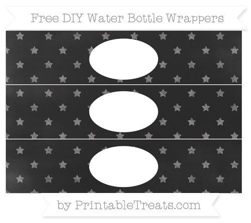 Free Taupe Grey Star Pattern Chalk Style DIY Water Bottle Wrappers
