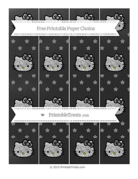 Free Taupe Grey Star Pattern Chalk Style Hello Kitty Paper Chains