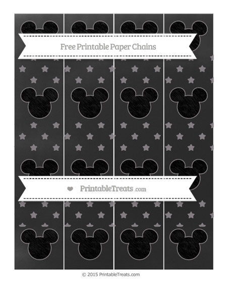 Free Taupe Grey Star Pattern Chalk Style Mickey Mouse Paper Chains