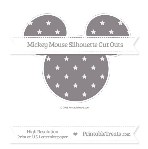 Free Taupe Grey Star Pattern Extra Large Mickey Mouse Silhouette Cut Outs