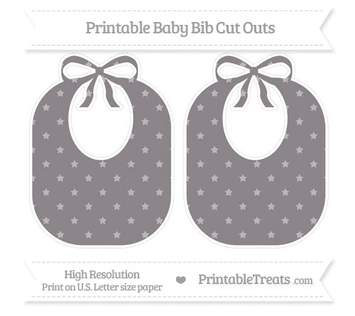 Free Taupe Grey Star Pattern Large Baby Bib Cut Outs