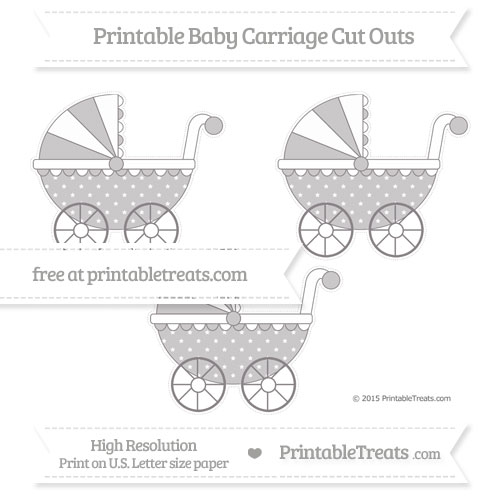 Free Taupe Grey Star Pattern Medium Baby Carriage Cut Outs