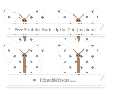 Free Taupe Grey Star Pattern Medium Butterfly Cut Outs